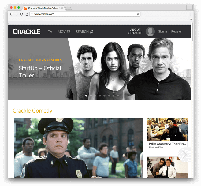 A screenshot of the Crackle homepage.