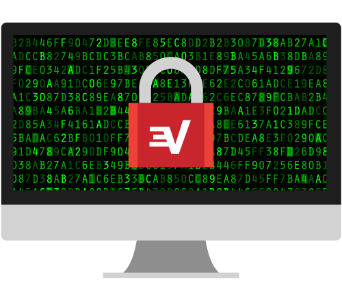 ExpressVPN padlock on encrypted computer screen: Enjoy untraceable browsing with a VPN.