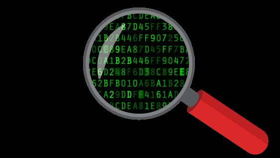 IP-osoitteen naamiointi: IP-osoite, joka on peitetty suurennuslasilla näyttäen salauksen.