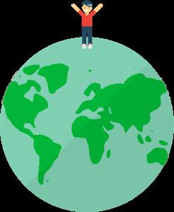 Usuário da ExpressVPN em cima de um globo, feliz podendo aproveitar largura de banda e downloads ilimitados.