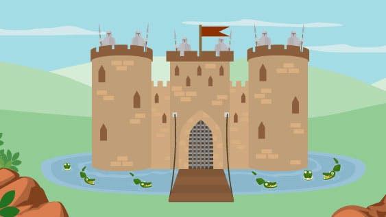Castelo fortificado cercado por crocodilos, representando segurança.