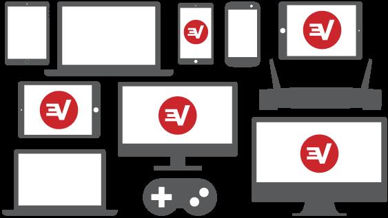 Silhouetten vieler Geräte, fünf davon mit ExpressVPN-Logo.