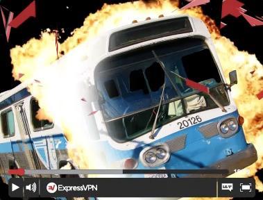 Videobild mit einem rasenden Bus, der die Drosselung des Internetanbieters durchbricht.