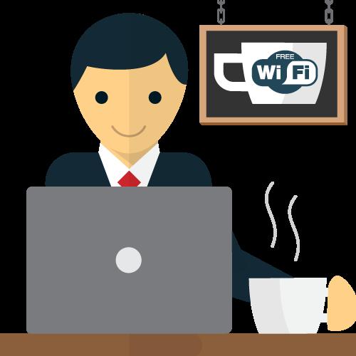 O profissional de negócios em trânsito usa uma VPN