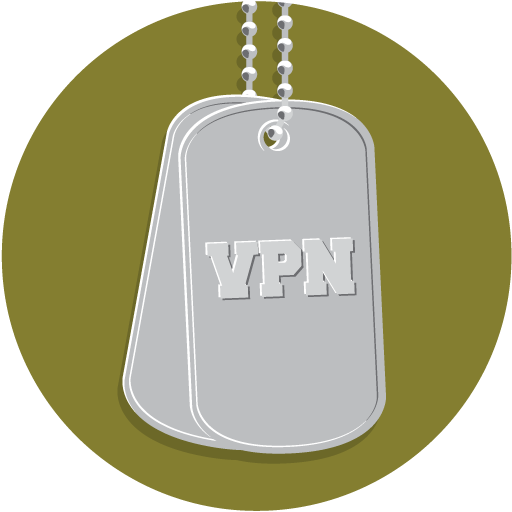 Military dog tags with the word VPN.