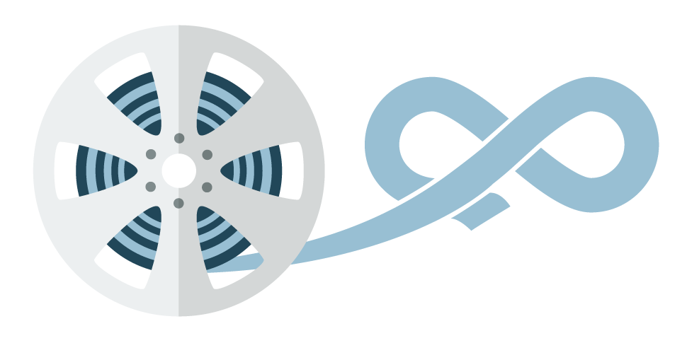Een filmspoel met loshangende film die in een oneindigheidssymbool uitmondt: Krijg onbeperkte bandbreedte om video's te streamen