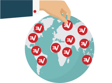 ExpressVPN logo dotted on its server locations.