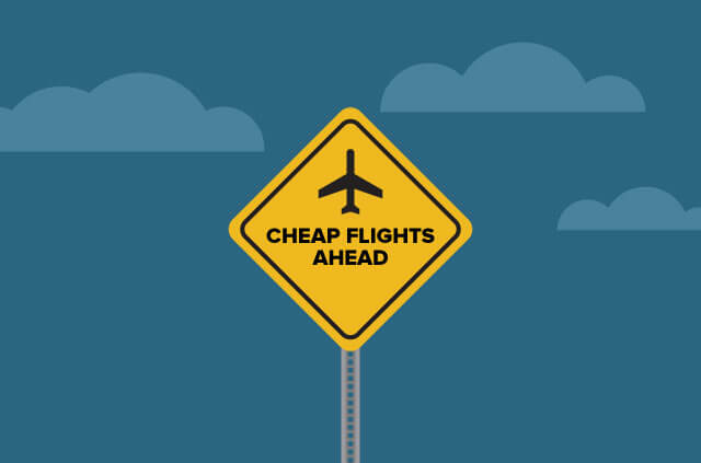 "An illustration of a ""planes overhead"" warning sign but with the text ""Cheap flights ahead"" written on it instead."