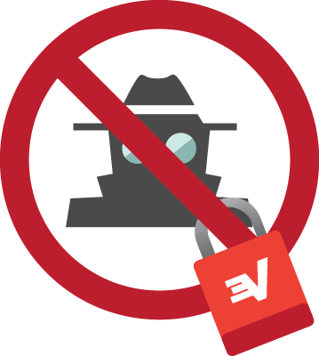 Segurança VPN: Um espião coberto por uma barra transversal e com um cadeado da ExpressVPN.