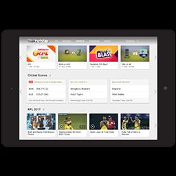Tablet-näyttö, jossa näkyy krikettiä suoratoistona Hotstarissa VPN:n kautta.