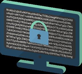 En datorskärm med ett hänglås som symboliserar krypterad trafik.