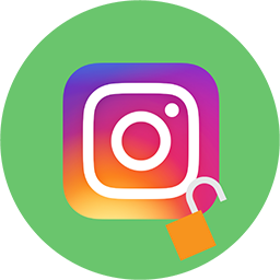 The Instagram logo with an open padlock.