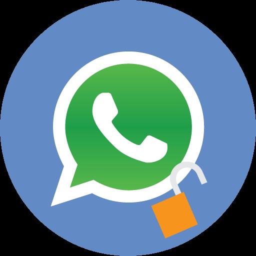 Le logo WhatsApp avec un cadenas ouvert.