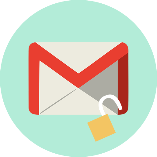 Poista Gmailin esto VPN:n avulla: Gmail-logo, jossa avoin lukko.