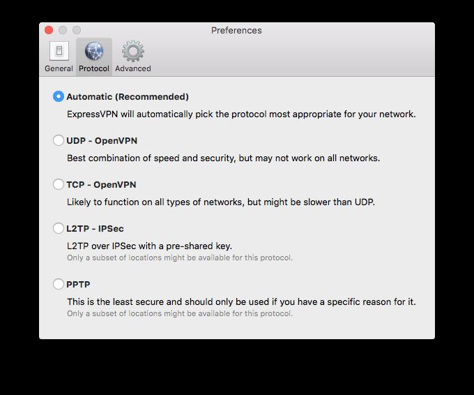 Приложение ExpressVPN позволяет самостоятельно выбрать протокол VPN
