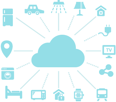 Apparecchi e dispositivi Internet of things connessi al cloud.