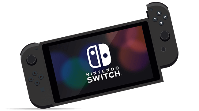 Nintendo Switch with controller attached.