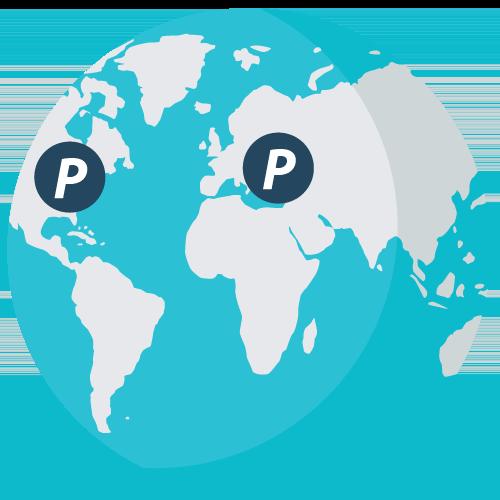 En globus viser bare to proxy-servere, langt fra hverandre.