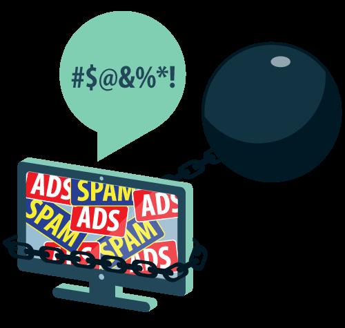 La pantalla de un equipo bloqueada por spam y anuncios, sujeta con bola y cadena y quejándose airadamente.