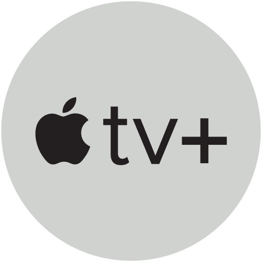 Het Apple TV plus logo in een cirkel.
