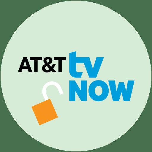 열린 자물쇠가 달린 원 안의 AT&T TV Now 로고