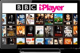 Écran d'accueil de BBC iPlayer sur un moniteur TV.