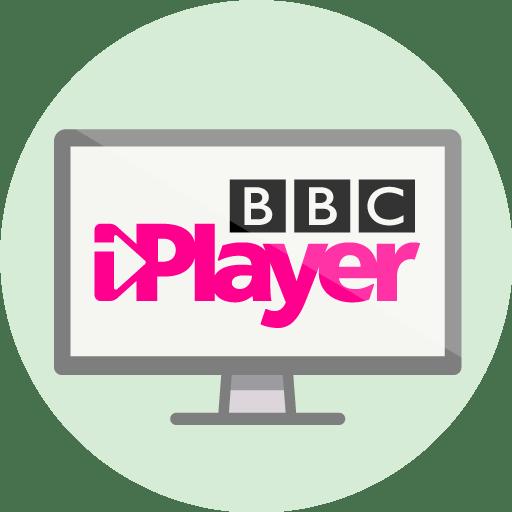 BBC iPlayer logo på en dataskjerm.