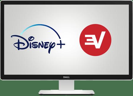 Bir masaüstü ekranında Disney+ ve ExpressVPN logosu.
