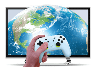 Jemand, der ein Spiel spielt, mit einem Globus im Hintergrund.