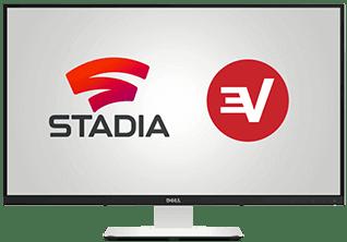 Google Stadia- ja Express VPN -logot tietokoneen näyttöruudulla.