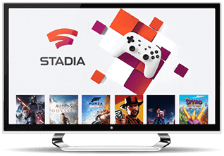 Interface Google Stadia sur un bureau d'ordinateur.