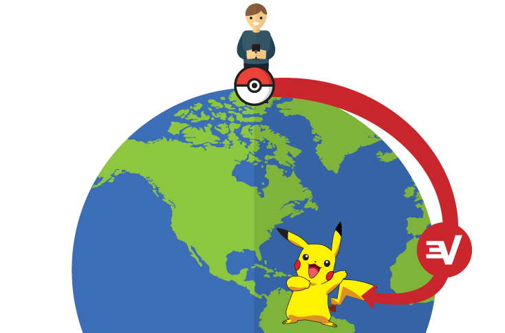 Globe with a person on a mobile device catching Pokémon around the world.