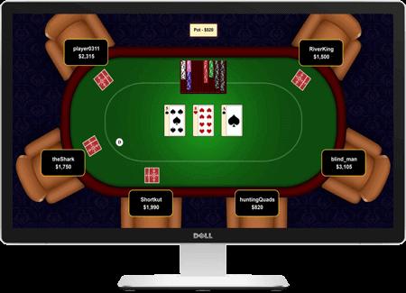 Et pokerrum online på en computerskærm