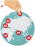 ExpressVPN logos on a globe indicating VPN server locations.