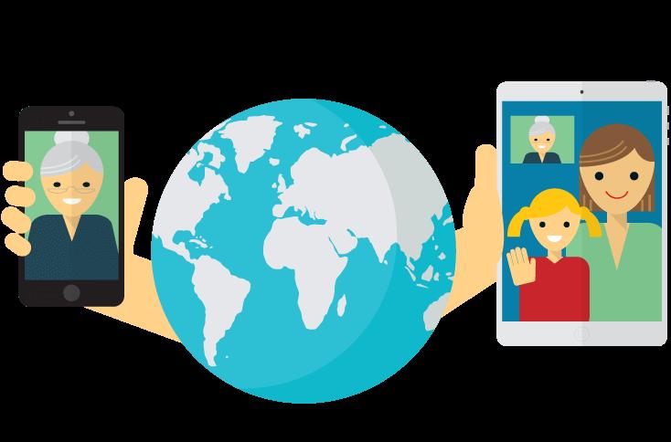 Dos dispositivos que muestran personas hablando entre sí con la tierra entre ellos.