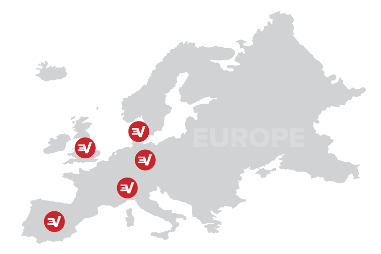 A map of Europe dotted with server locations.