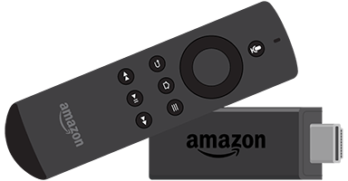 Amazon Firestick e telecomando.
