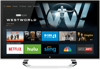 Schermata home di Amazon Fire TV.