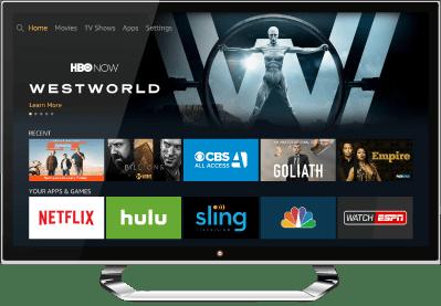 Amazon Fire TV's home screen.