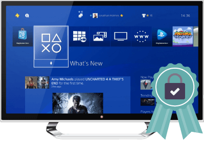 Screenshot of PlayStation homepage with a padlock badge indicating a secure connection.