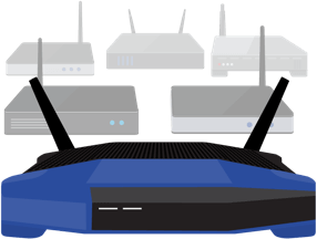 Un gran conjunto de routers VPN