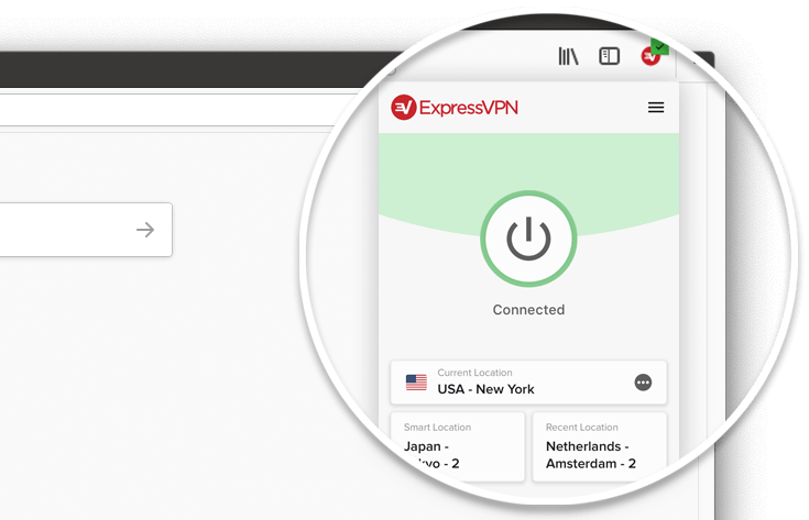 Close-up of the ExpressVPN browser add-on for Firefox showing that the VPN is connected.