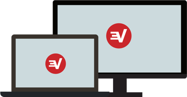 A laptop and desktop PC with the ExpressVPN logo.