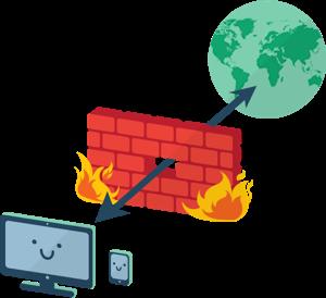 Pijlen die een globe en apparaten met elkaar verbinden dwars door een stenen muur die in brand staat.