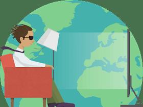 Assista a conteúdo de qualquer lugar: Cliente fazendo streaming com velocidades excelentes em cima de um globo.