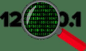 Mascaramento de endereços IP: Lupa de aumento mostrando um endereço de IP oculto.