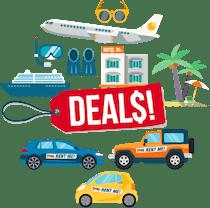 Leiebiler, cruiseskip, hoteller og fly rundt en prislapp merket tilbud.