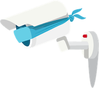 Ingen overvåkning: Et kamera med bind for øynene.