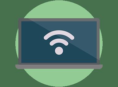 Wi-Fiシンボルを表示するノートパソコン
