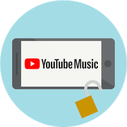 YouTube Musicのロゴが表示されたスクリーン。ExpressVPNでYouTube Musicのブロックを解除。